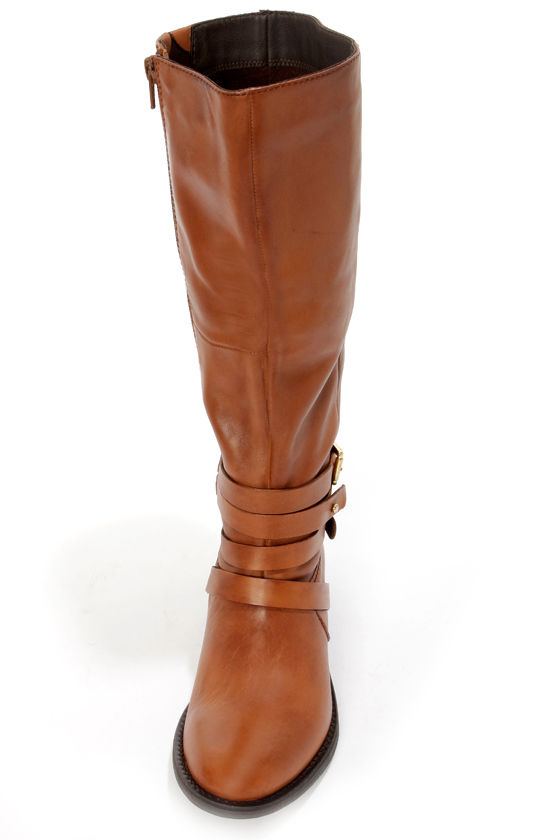 Steve Madden Albany Cognac Leather Belted Riding Boots at Lulus.com!