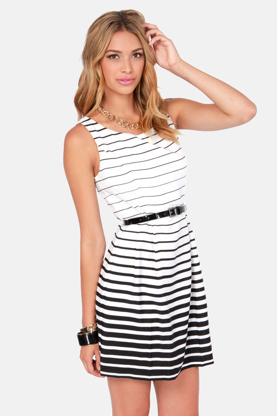 Radiant Gradient Black and Ivory Striped Dress at Lulus.com!