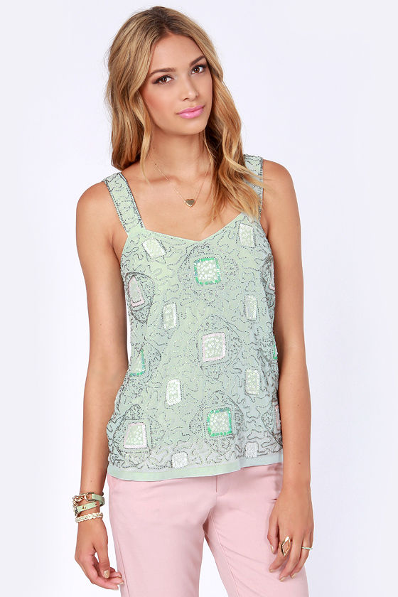 Jazz-berry Jam Sage Beaded Sequin Top at Lulus.com!