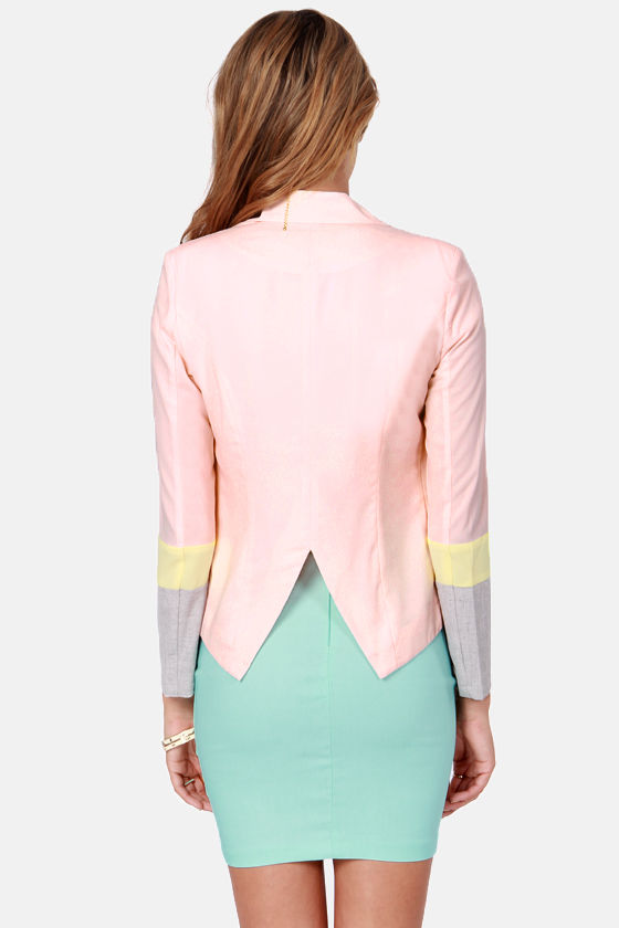 Block This Way Peach Color Block Blazer at Lulus.com!
