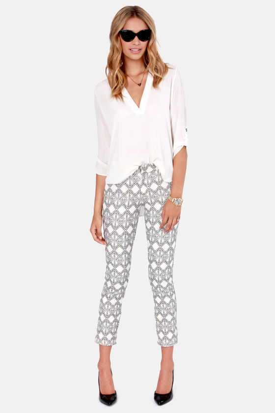 Rope For the Best Black and Ivory Print Pants at Lulus.com!