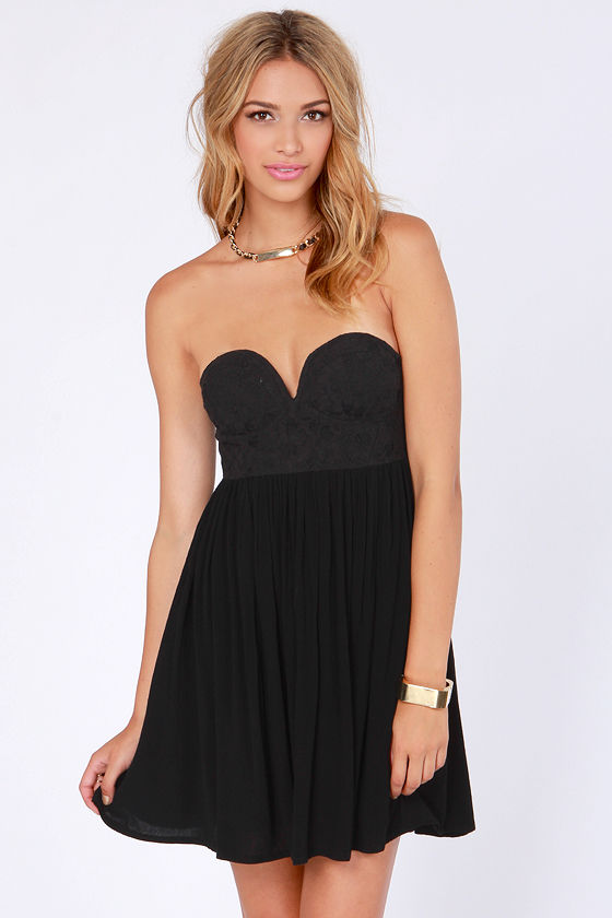Tango on the Terrace Strapless Black Lace Dress at Lulus.com!