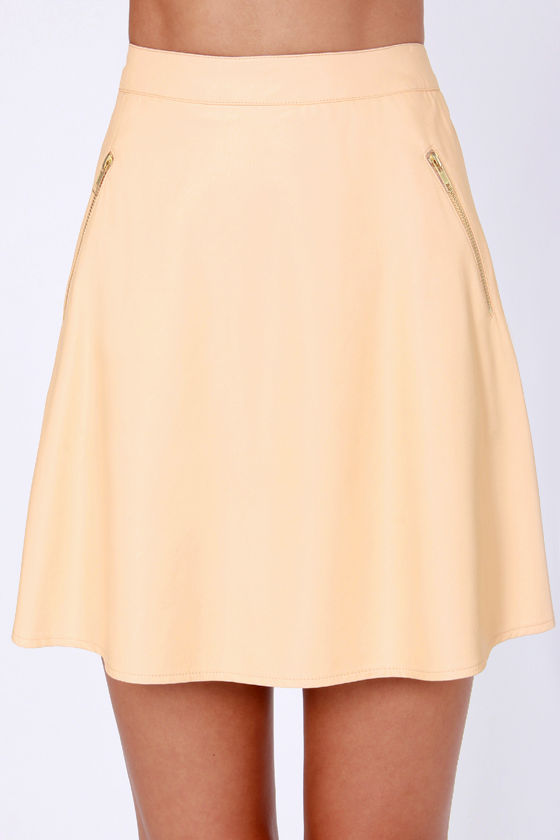 Leather to the Editor Peach Vegan Leather Skirt at Lulus.com!