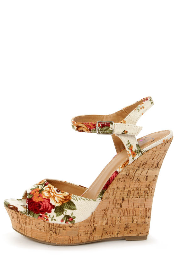 4816d8591b4 My Delicious Life Natural Rose Floral Print Wedge Sandals -  27.00