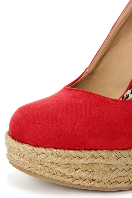 My Delicious Glow Lipstick Red Suede Espadrille Wedges at Lulus.com!