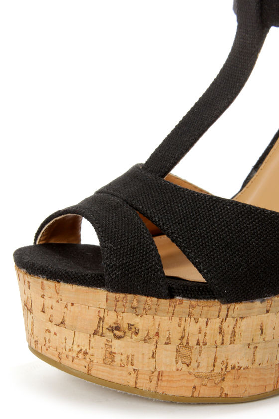 Soda Path Black Cotton T-Strap Platform Wedge Sandals at Lulus.com!