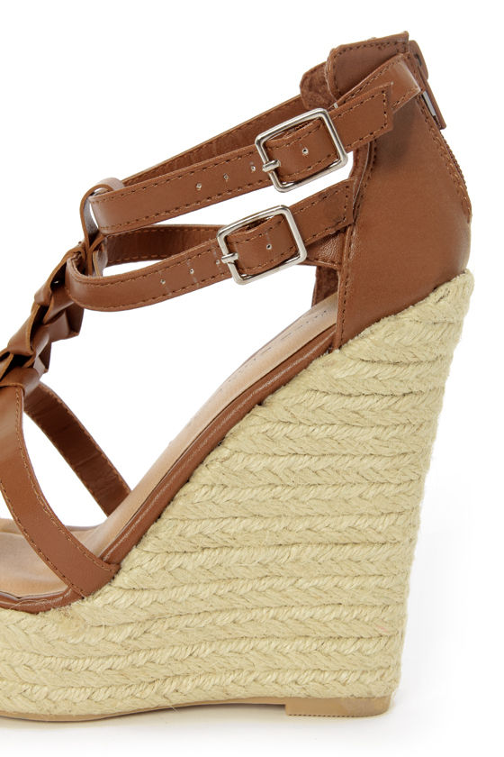 Wild Diva Lounge Madison 43 Cognac Braided Double T-Strap Wedges at Lulus.com!