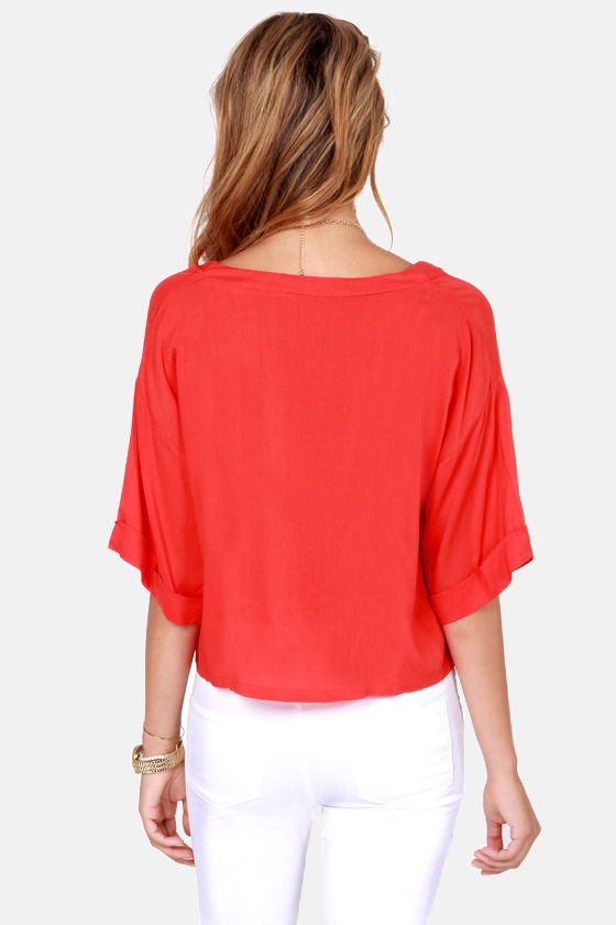 Weave a Tale Coral Red Top at Lulus.com!