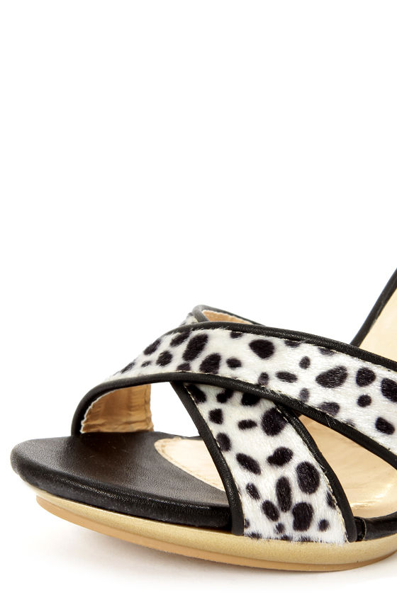 Promise Qasim Black Dalmatian Print Color Block High Heels at Lulus.com!