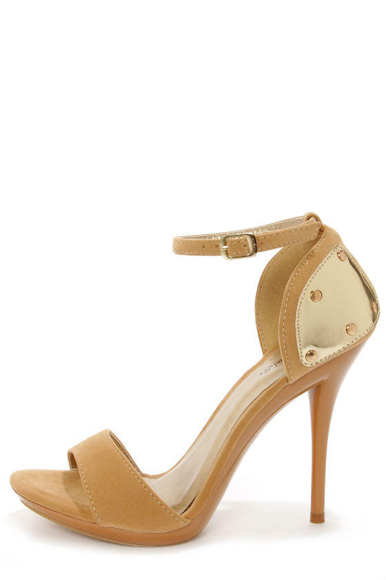 Promise Emerson Tan & Gold Plated High Heel Sandals at Lulus.com!