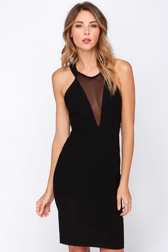 Around We Go Black Cutout Halter Dress at Lulus.com!
