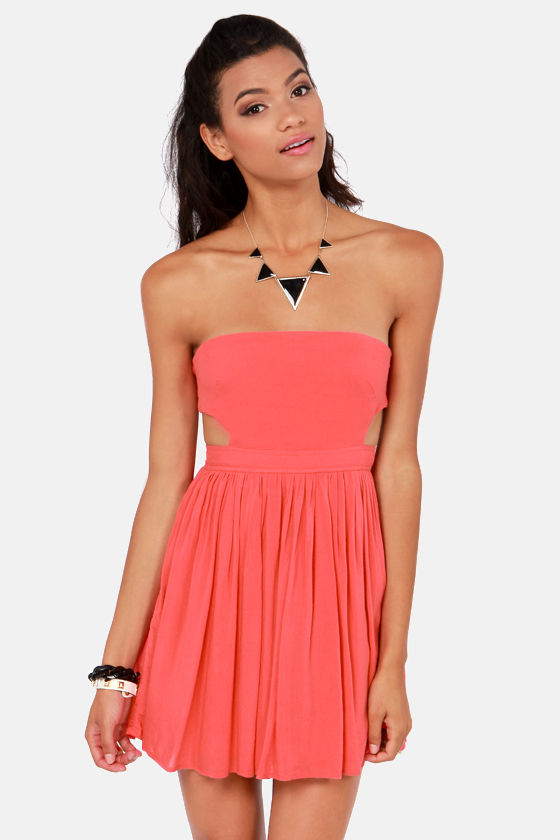 Cute Coral Dress - Strapless Dress - $41.00