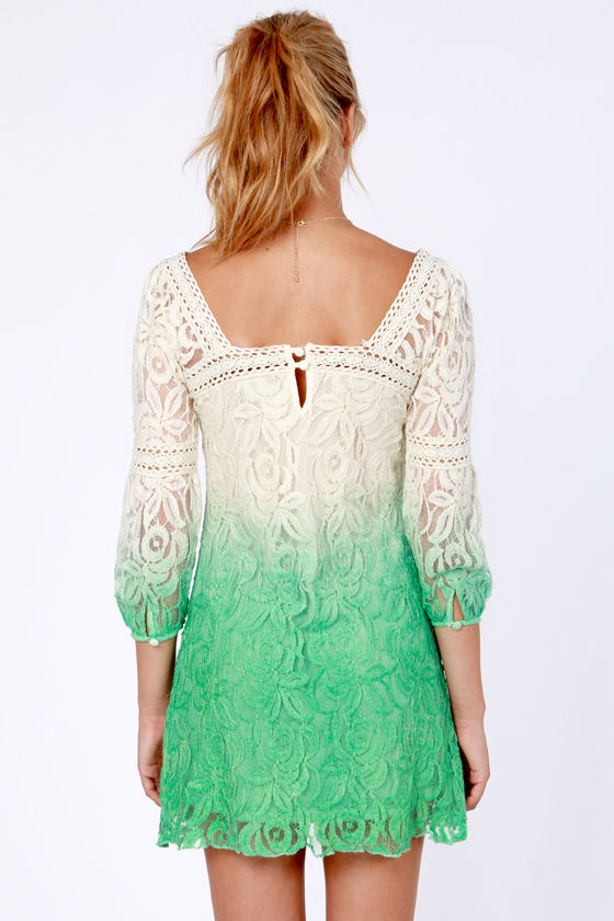 Ombre-lievable Cream and Green Lace Dress at Lulus.com!
