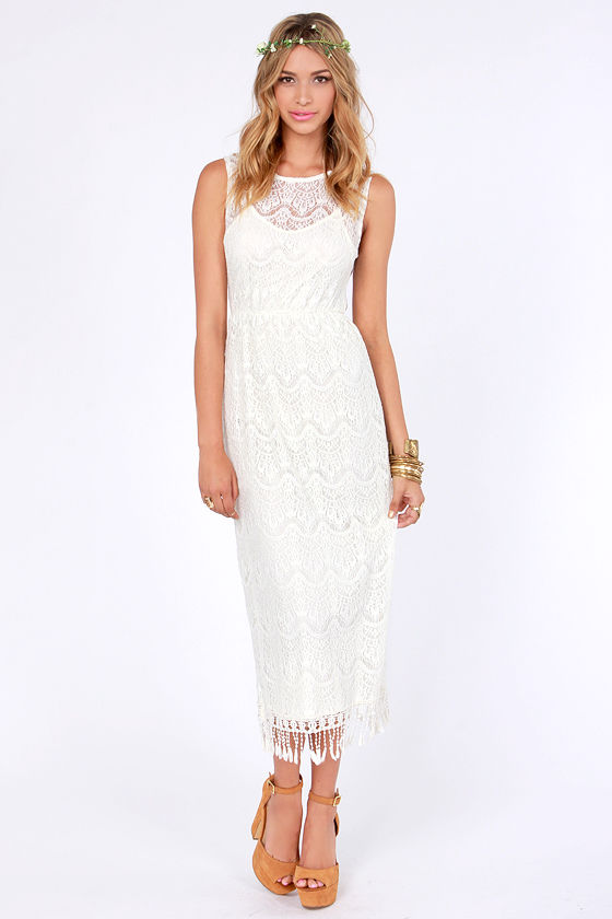 Up in the Heirlooms Cream Lace Dress at Lulus.com!