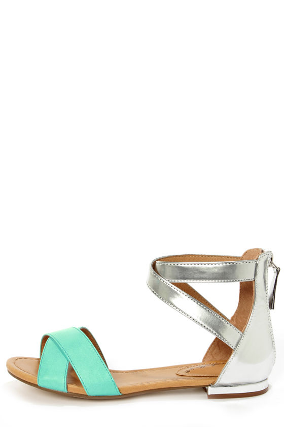 eb40336d007 Jessy 02 Mint and Silver Color Block Flat Sandals -  23.00