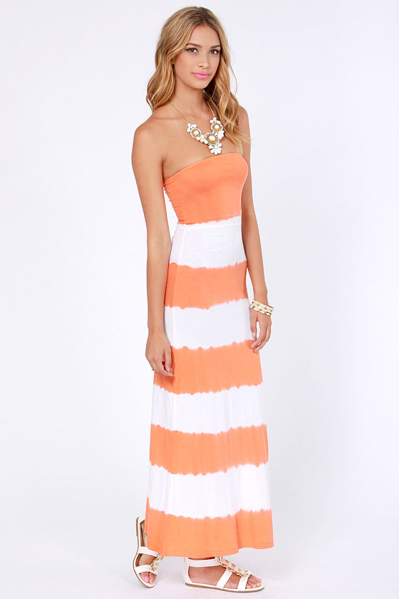 Hurley Mondo Convertible Ivory and Orange Maxi Dress at Lulus.com!