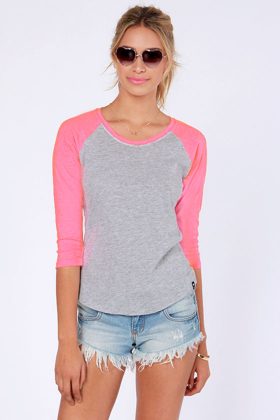 Hurley Perfect Top - Grey and Neon Pink Shirt - Raglan Top - $27.00