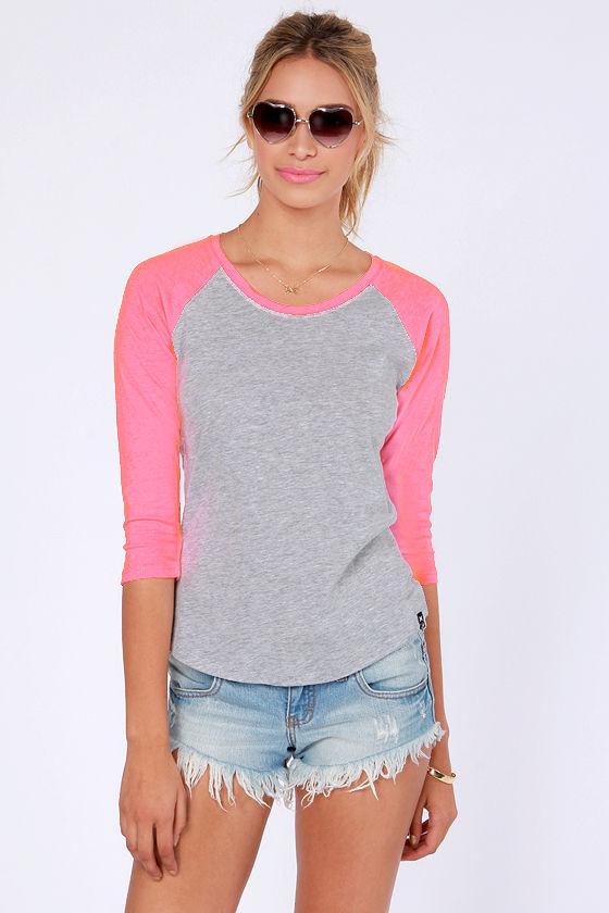 Hurley Perfect Top - Grey and Neon Pink Shirt - Raglan Top - $27.00
