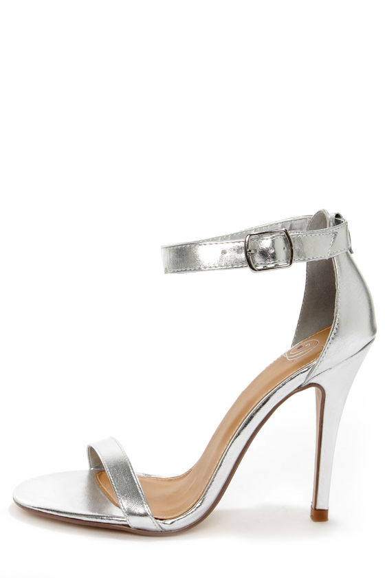 My Delicious Chacha Silver Metallic Single Strap High Heels - $23.00