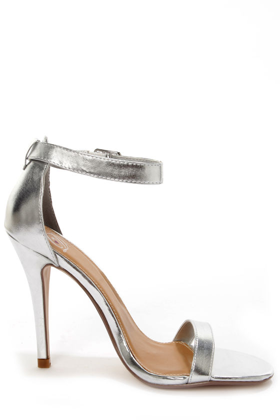 My Delicious Chacha Silver Metallic Single Strap High Heels - $23.00