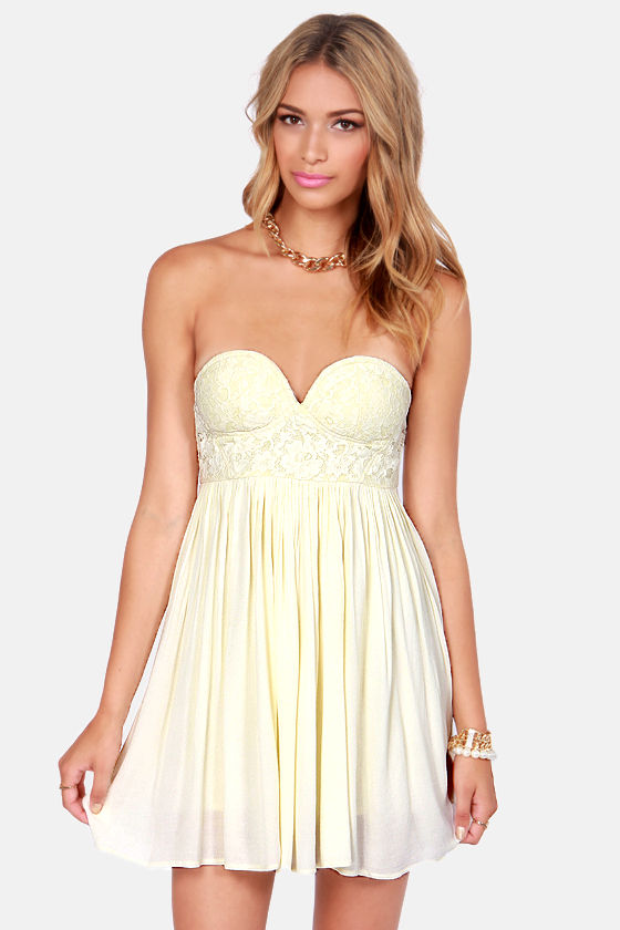 Sexy Cream Dress - Strapless Dress - Lace Dress - $52.00