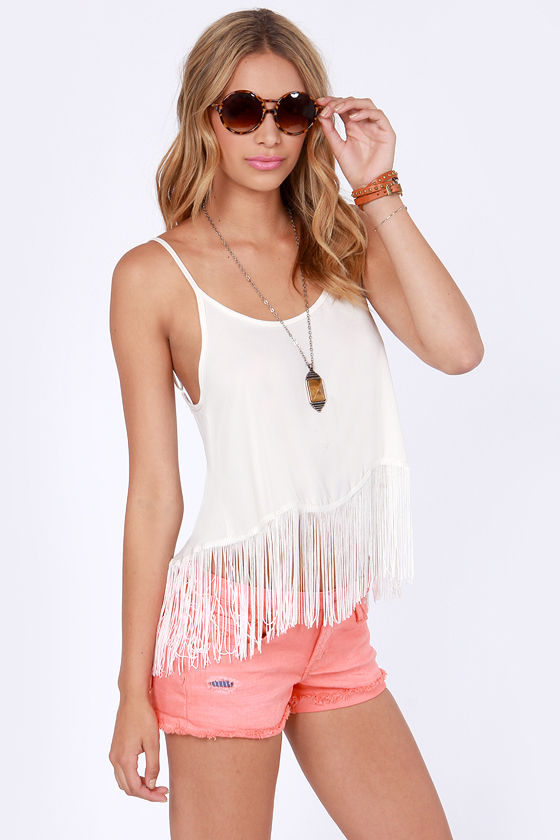 Pardon My Fringe Ivory Fringe Top at Lulus.com!
