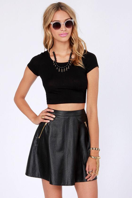 Black Faux Leather Skater Skirt