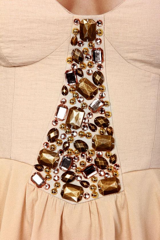 Ladakh To Wonderland Beaded Beige Bustier Dress at Lulus.com!
