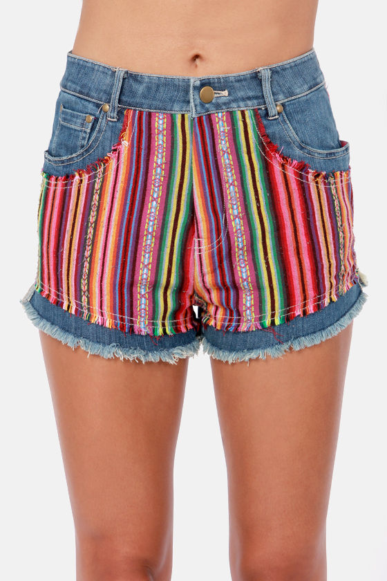 Ladakh Mexicana High-Rise Print Cutoff Shorts at Lulus.com!