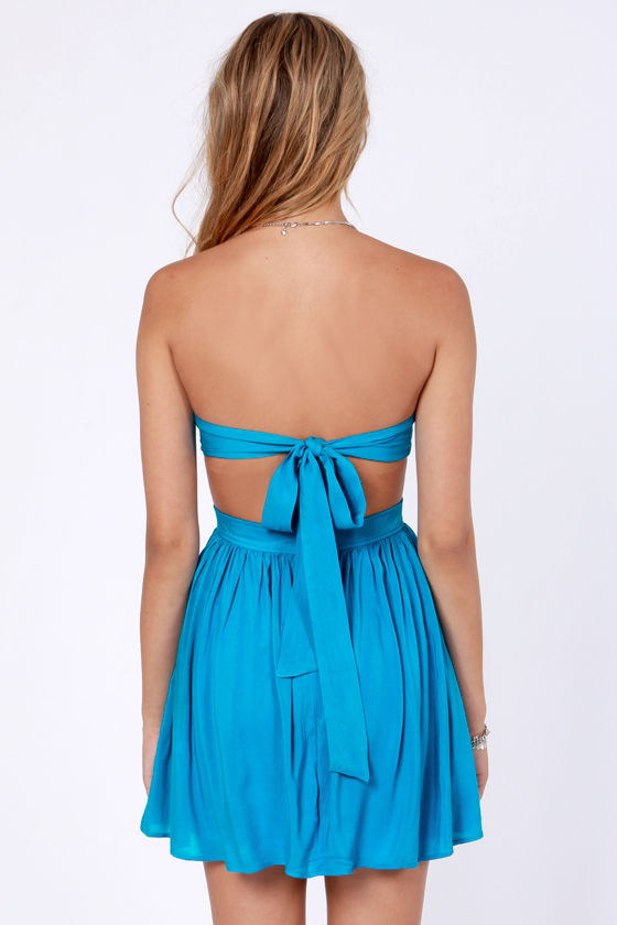 Sweet Little Ties Strapless Blue Dress at Lulus.com!
