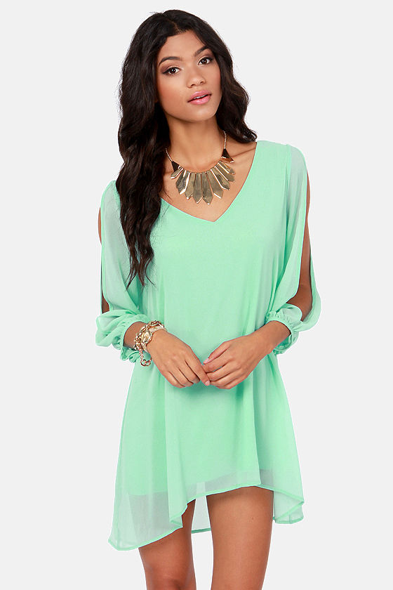 Pretty Mint Blue Dress - Shift Dress - Cold Shoulder Dress - $44.00