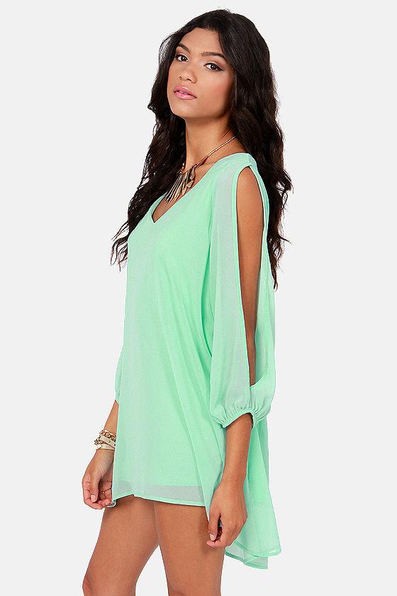 Shifting Dears Mint Blue Long Sleeve Dress at Lulus.com!