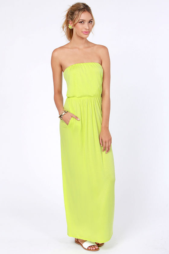 Cute Highlighter Yellow Dress - Maxi Dress - Strapless Dress - $41.00