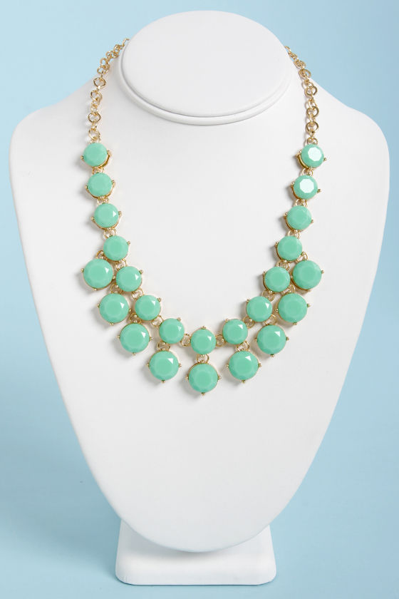 pretty mint green necklace gold necklace statement