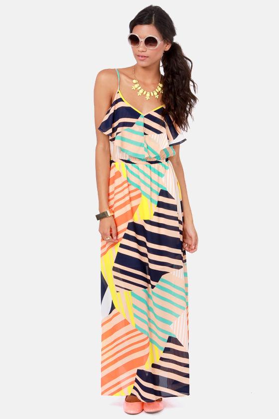 0ebcde4ce7 Cute Maxi Dress - Print Dress - Ruffle Dress -  60.00