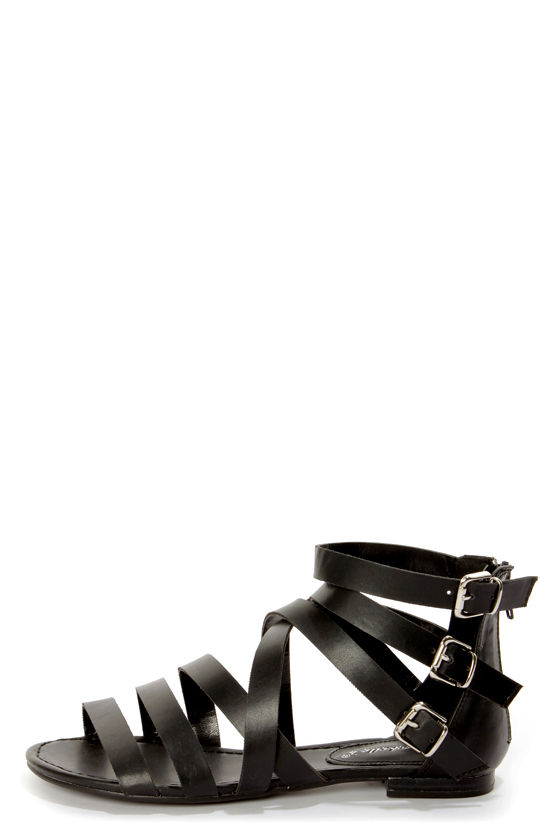 Covina 04 Black Strappy Gladiator Sandals at Lulus.com!