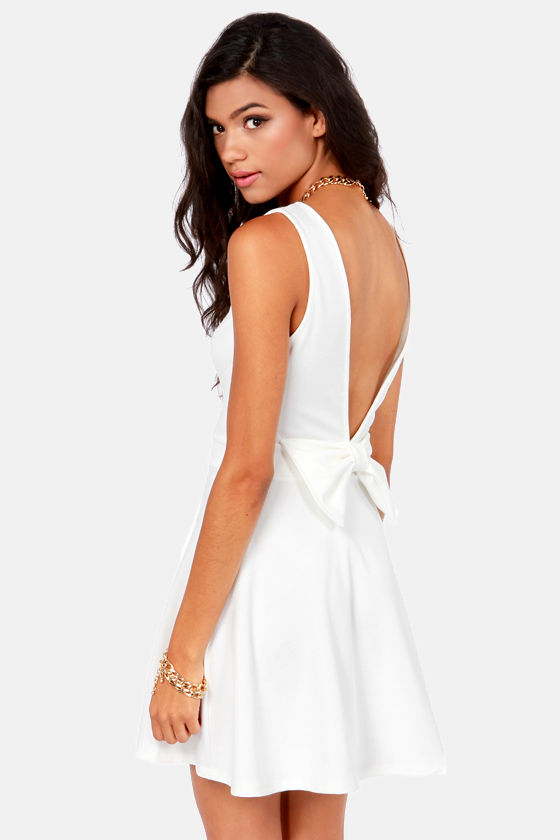 Bow-tiful Dreamer Backless Ivory Dress at Lulus.com!