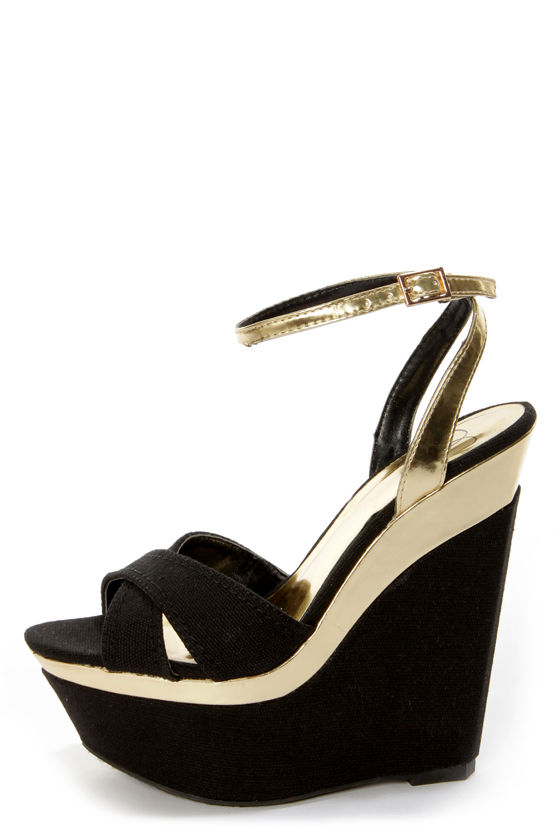 My Delicious Angeni Black Cotton and Gold Platform Wedge Sandals at Lulus.com!