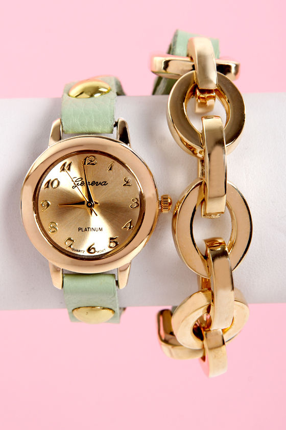 Times Table Wraparound Mint Green Leather Watch at Lulus.com!