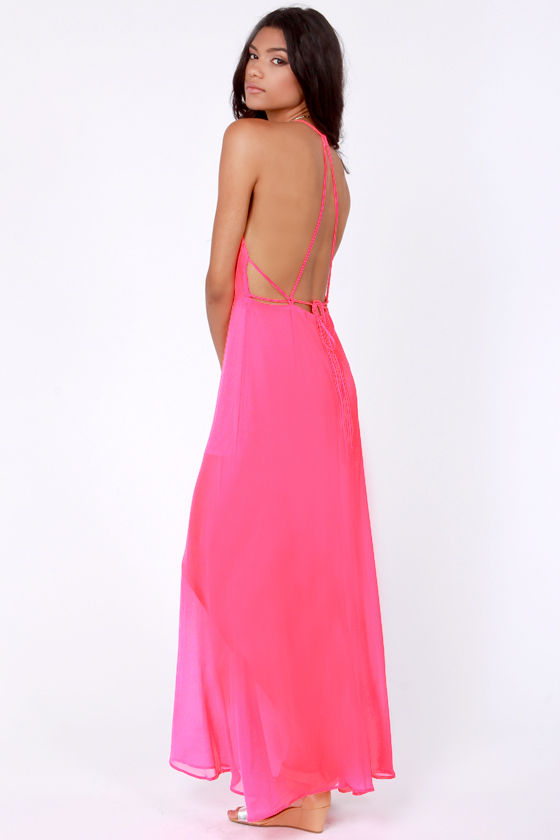 Sexy Hot Pink Dress - Maxi Dress - Backless Dress - $44.00