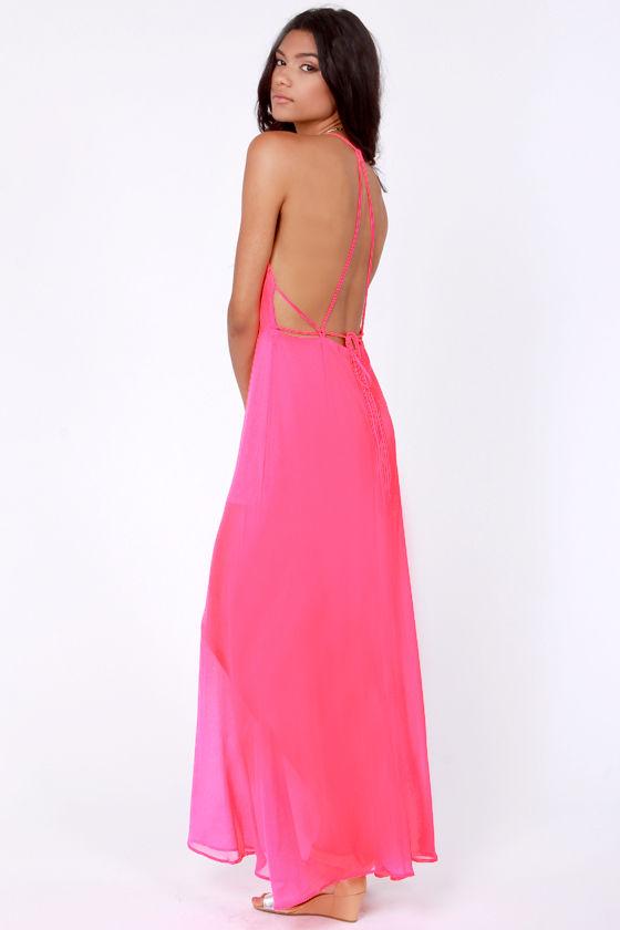 Sexy Hot Pink Dress - Maxi Dress - Backless Dress - $44.00