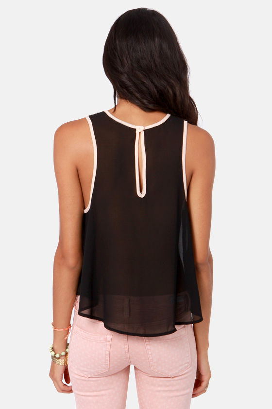 City at Night Embroidered Black Top at Lulus.com!