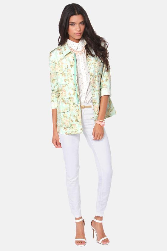 Lieutenant Lilac Floral Print Military Jacket at Lulus.com!