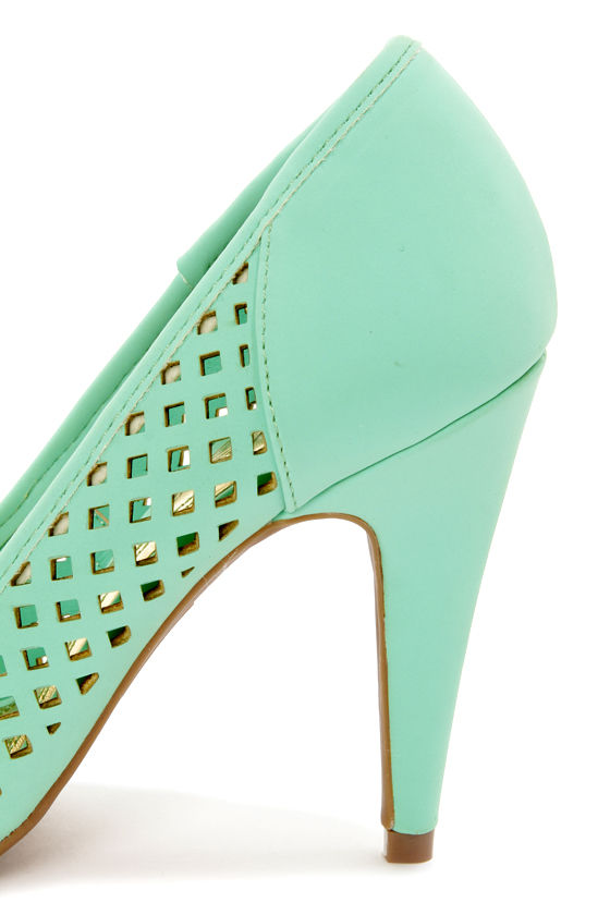 Anne Michelle Adoncia 02 Mint Perforated Cap-Toe Pumps at Lulus.com!