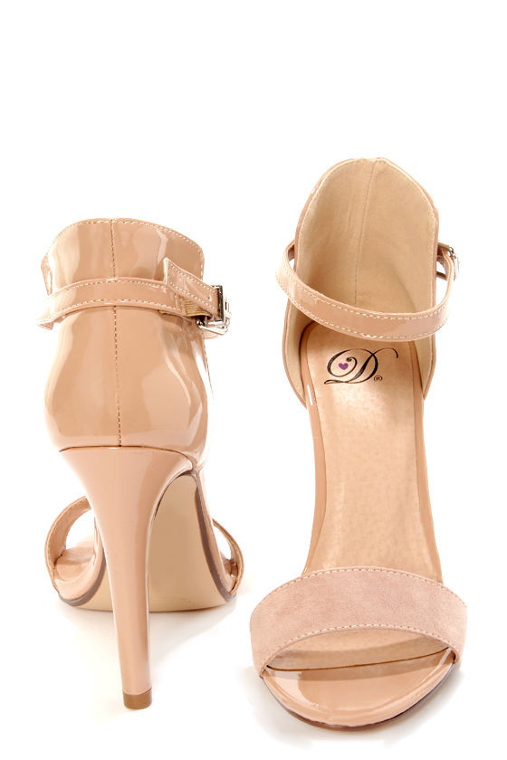 My Delicious Stick Oatmeal Patent and Suede High Rise High Heels at Lulus.com!