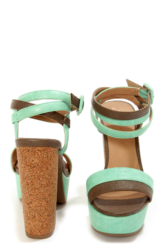 GoMax Beyond Compare 04 Mint Ankle Wrap Platform Sandals at Lulus.com!