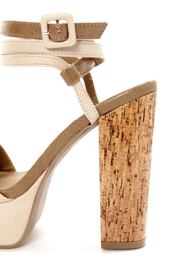 GoMax Beyond Compare 04 Nude Ankle Wrap Platform Sandals at Lulus.com!