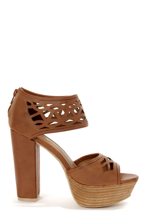 GoMax Beyond Compare 08 Brown Laser Cut Platform Sandals at Lulus.com!