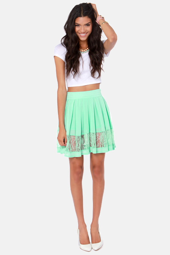 New Lace on Life Mint Green Lace Skirt at Lulus.com!