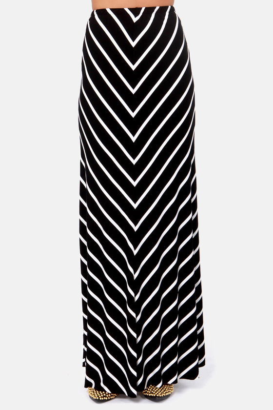 Party Lines Black and White Striped Maxi Skirt at Lulus.com!
